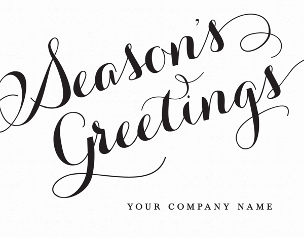 calligraphy season's greetings company holiday card