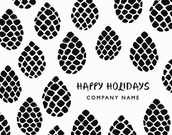 black and white modern business holiday card