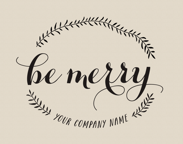 elegant be merry company holiday card