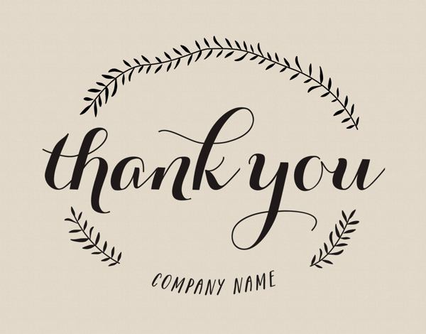 Simple Branch Business Thank You Card