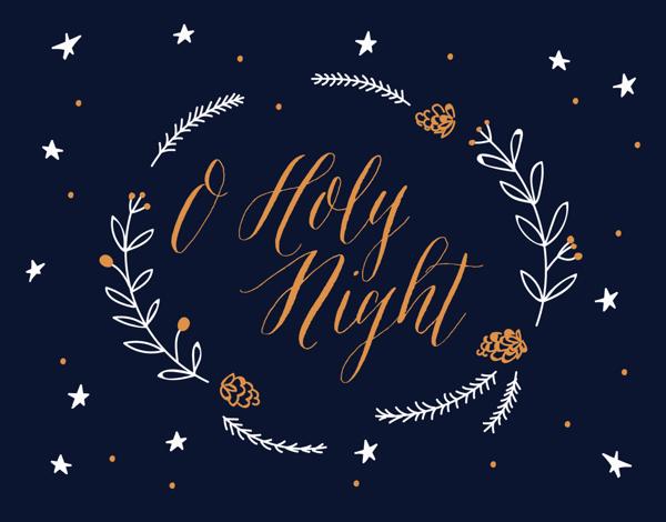 Holy Night Wreath Christmas Card