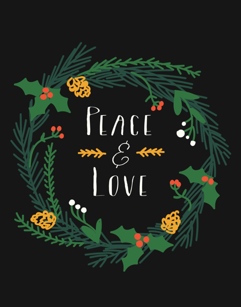 Black Peace and Love Wreath Holiday Card