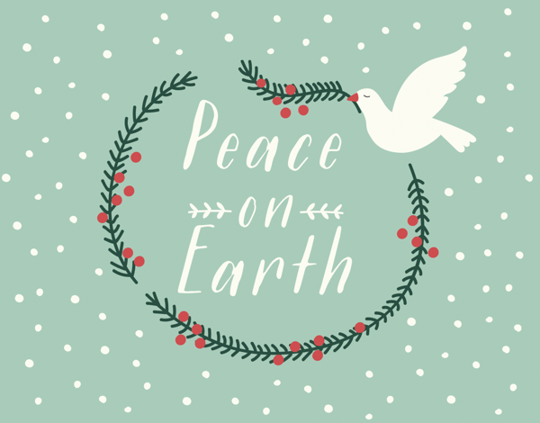 Peace on Earth Dove Holiday Card