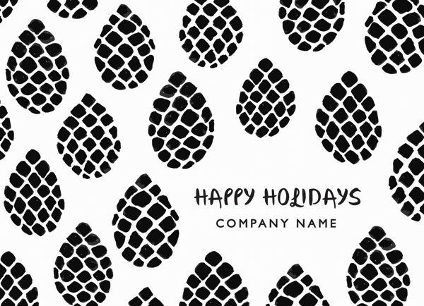 Pinecone Pattern Business Holiday Card