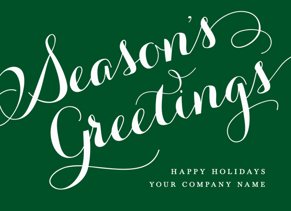 Greetings Script Business Holiday Card