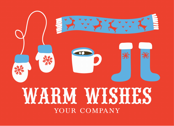 Warm Wishes Custom Corporate Holiday Card