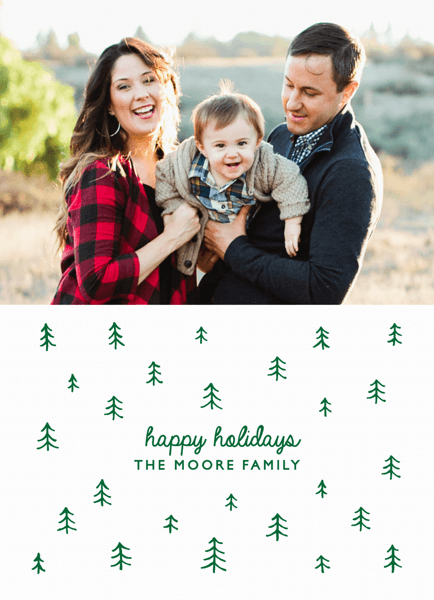 Doodle Trees Holiday Photo Card
