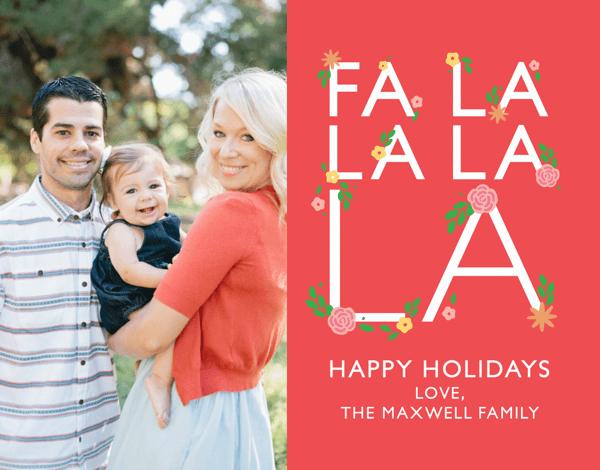 Fa La La Floral Holiday Photo Card