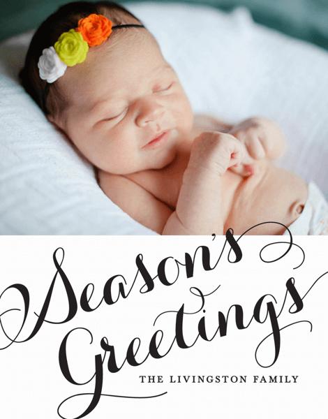 Season's Greetings Cursive Photo Card