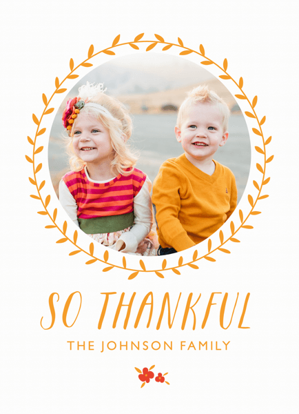 Thankful Wreath Photo Card