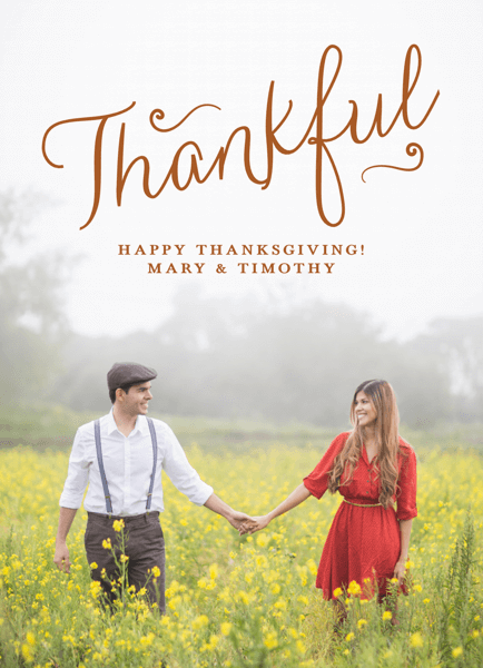 Brown Cursive Thanksgiving Card