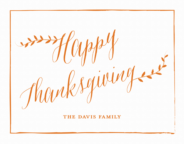 Calligraphy Custom Thanksgiving Card