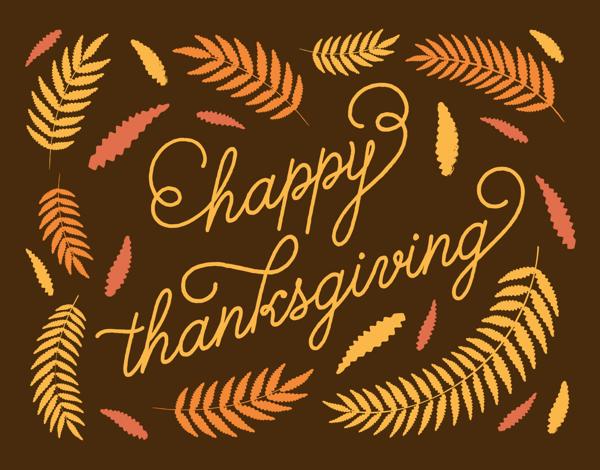 Ferns Cursive Thanksgiving Card