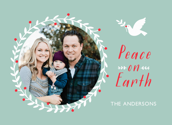 Peace On Earth branch framed Photo Holiday Card