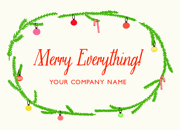 Charming Garland Business Holiday Card