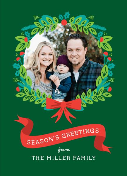 Wreath and Ribbon Photo Holiday Card