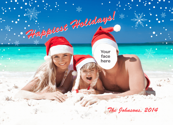Beach Family Singles Holiday Card