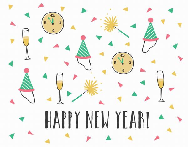 Confetti Pattern New Year Card