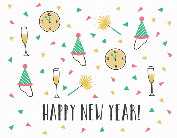 Confetti Pattern New Year Card