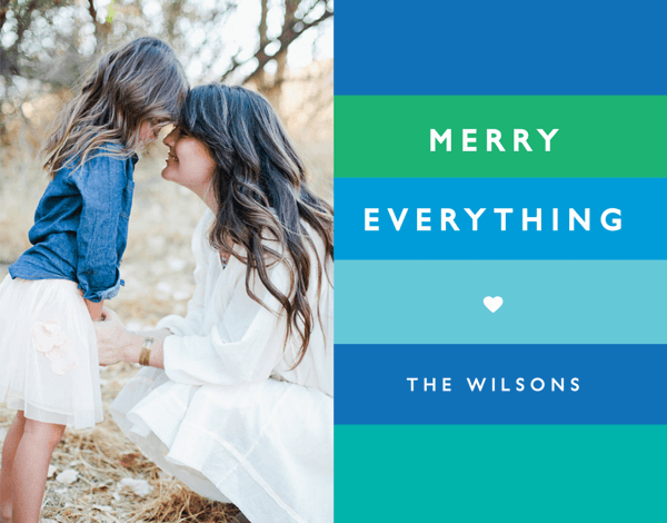 Merry Everything Blue Stripes Holiday Card