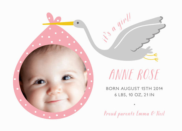 It's a Girl Stork Birth Announcement