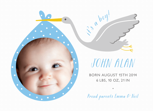 Photo Stork Birth Announcement