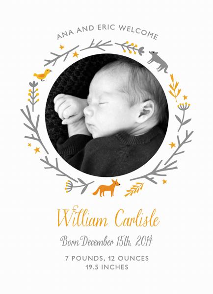 Woodland Birth Announcement