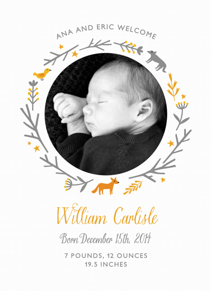 Woodland Birth Announcement