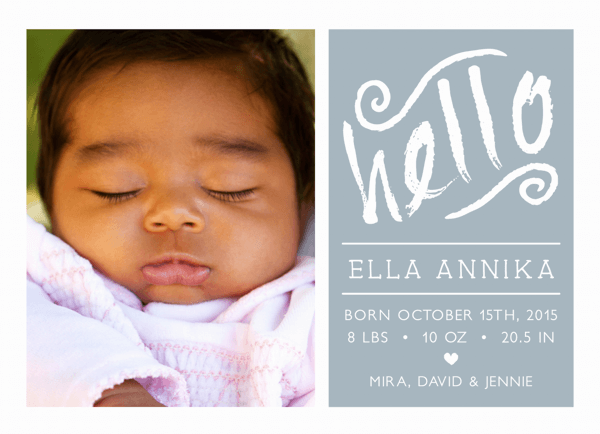 Hello Script Birth Announcement