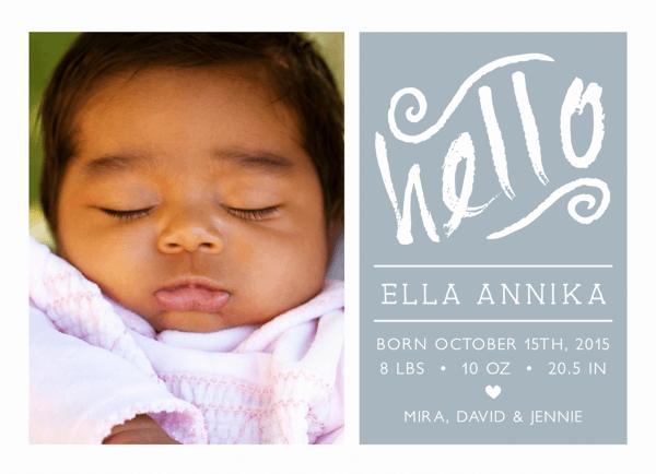Hello Script Birth Announcement