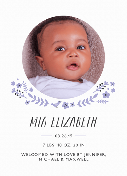 Lilac Florals Baby Announcement