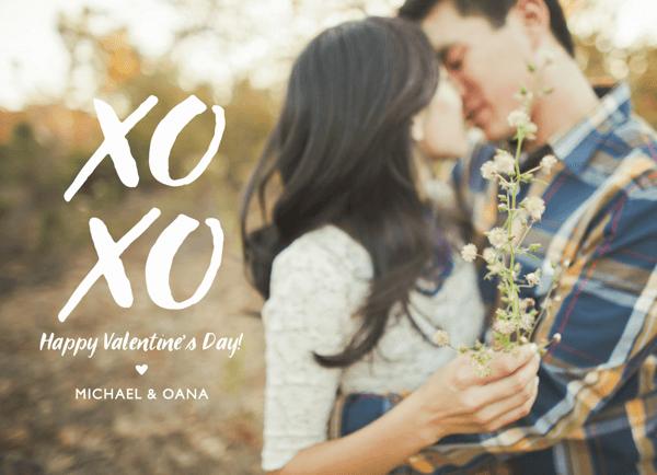 Painted XOXO Valentine Card