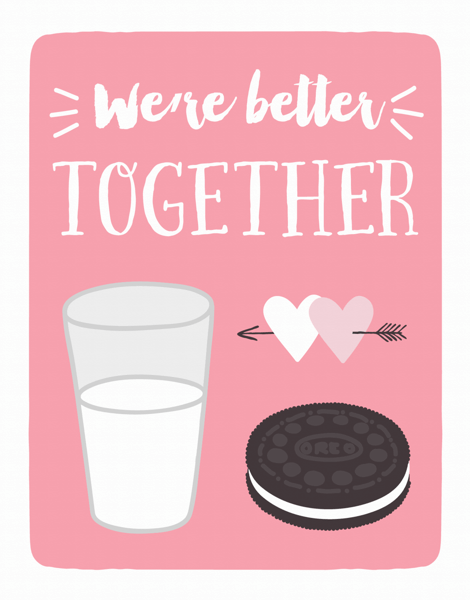 Milk and Oreos Valentine Card