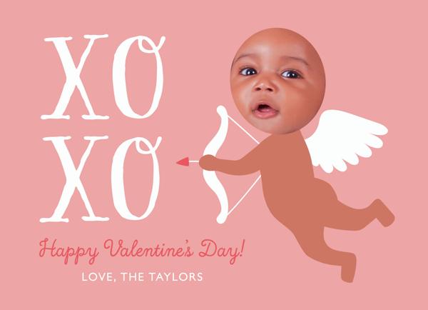 Cupid Baby Pink Valentine's Card