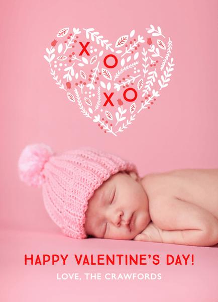 Heart Bouquet Photo Valentine Card