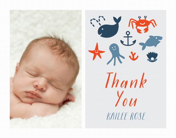 Nautical Newborn Thank You Card