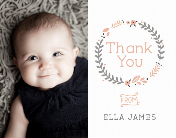 Peach Wreath Baby Thank You Card