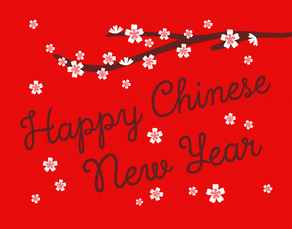 Cherry Blossom Chinese New Year Card