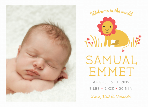 Custom Lion Baby Birth Announcement