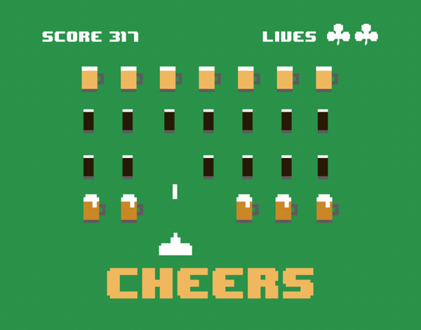 Space Invaders St. Paddy's Card