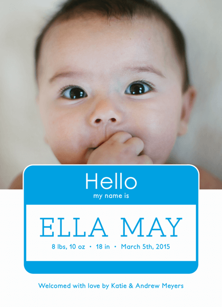 Baby Name Tag Birth Announcement