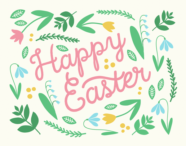 Graphic Spring Flowers Easter Card