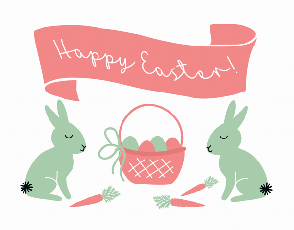 Bunnies and Banner Easter Card