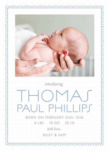 Gentle Dots Birth Announcement