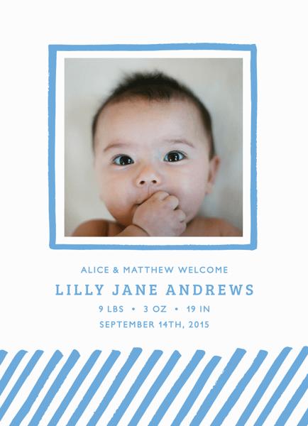 Blue=Lines Birth Announcement