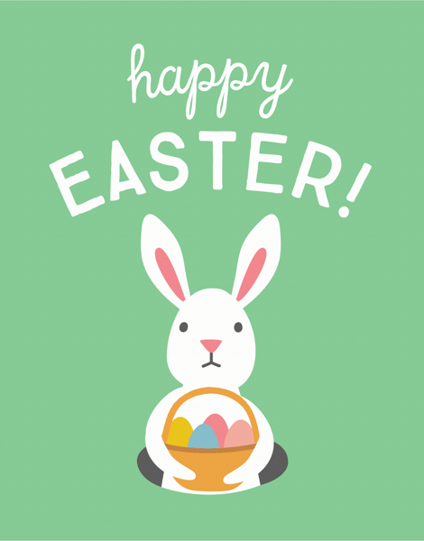 Rabbit with Basket Easter Card