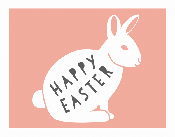 Rabbit Silhouette Easter Card
