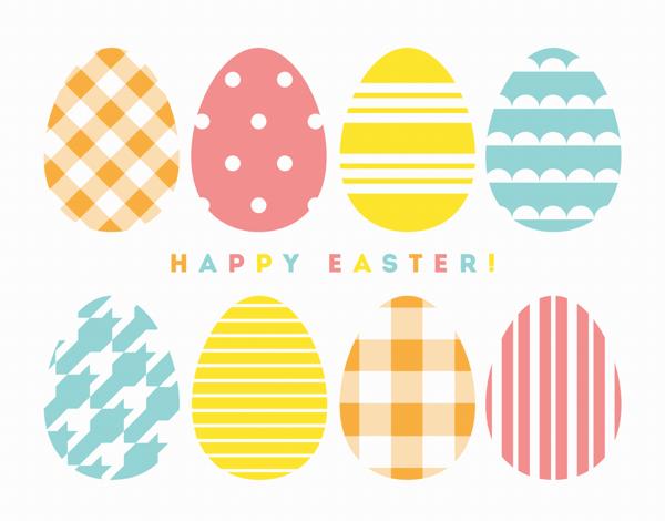 Pastel Patterned Egg Easter Card