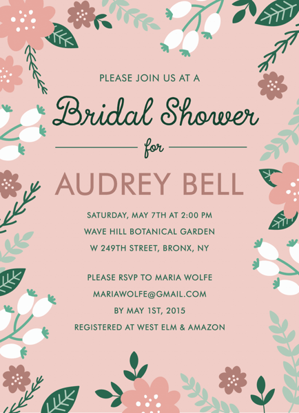 Blush Garden Bridal Shower Invite