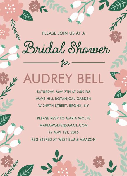 Blush Garden Bridal Shower Invite